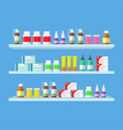 medical tablets pills medical bottles on shelves vector image