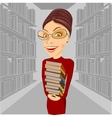 smiling librarian with glasses holding books vector image