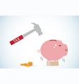 hammer with piggy bank and coins stack vector image
