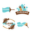cleaning service logo emblems with equipments set vector image