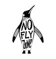 no fly zone penguin vector image