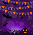 Halloween background with pumpkins and hanging vector image