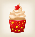 cute colorful Christmas cupcake with decorations vector image vector image