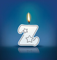Candle letter z with flame vector image