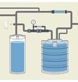 Scheme with water tank and pipes vector image