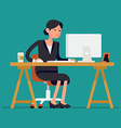 Business Lady Sitting at a Desk vector image