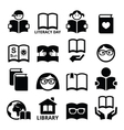 Children and adults reading books International vector image