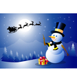 Happy Christmas and Santa with Snowman vector image