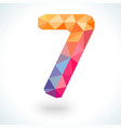 Number seven in modern polygonal crystal style vector image