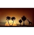 sunrise over the African savanna giraffe and trees vector image