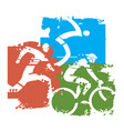 triathlon grunge background vector image