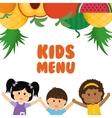 Girl boy fruits and kids menu concept vector image