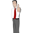 Young businessman shows thumb up vector image vector image