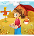 A woman harvesting eggs vector image vector image