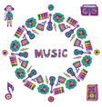 hand drawn music frame music doodle colorful vector image