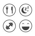 the four pillars of health healthcare icons set vector image