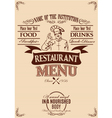 template for the cover of menu with chef vector image