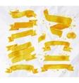 Watercolors ribbons yellow vector image