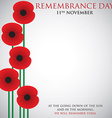 Remembrance Day card in format vector image