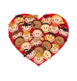 Cartoon baby faces in heart shaped frame vector image
