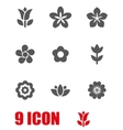 grey flowers icon set vector image vector image