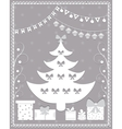 Christmas card in the style of carving paper vector image