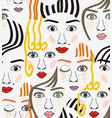 girls faces with eyes hairs noses and lips vector image