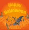 modern halloween card with old hat and pumpkins on vector image