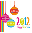 new year card 2012 with christmas balls vector image