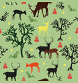 seamless pattern with deers and trees vector image