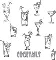 set of cocktail glasses in the style of chalk on a vector image