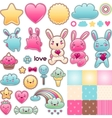 Set of decorative design elements with kawaii vector image