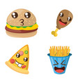 kawaii fast food funny set vector image