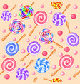 stock seamless background of sweet fruit candy vector image