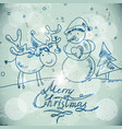 Christmas greetings card with a snowman and moose vector image