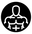 Strong man symbol in black circle vector image