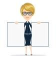 Cartoon teacher businesswoman in glasses holding vector image