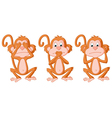 3 Wise Monkey Pose vector image vector image