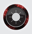 button with red black tartan - weather sun icon vector image