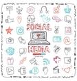 Social Media Word and Icon setDoodle sketchy vector image