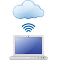 Laptop and Cloud computing vector image