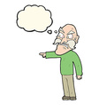 cartoon furious old man with thought bubble vector image