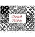 Damask floral ornament seamless pattern set vector image