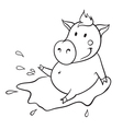 Pig in puddle vector image