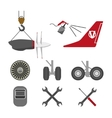 Set of aircraft parts on white background vector image