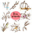 Set of hand drawn nature design elements vector image
