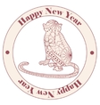 Vintage happy new year stamp with monkey vector image