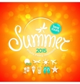 Colorful lettering summer and white icons vector image