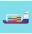 flat style of cargo ship vector image