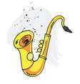 saxophone cartoon hand drawn image vector image